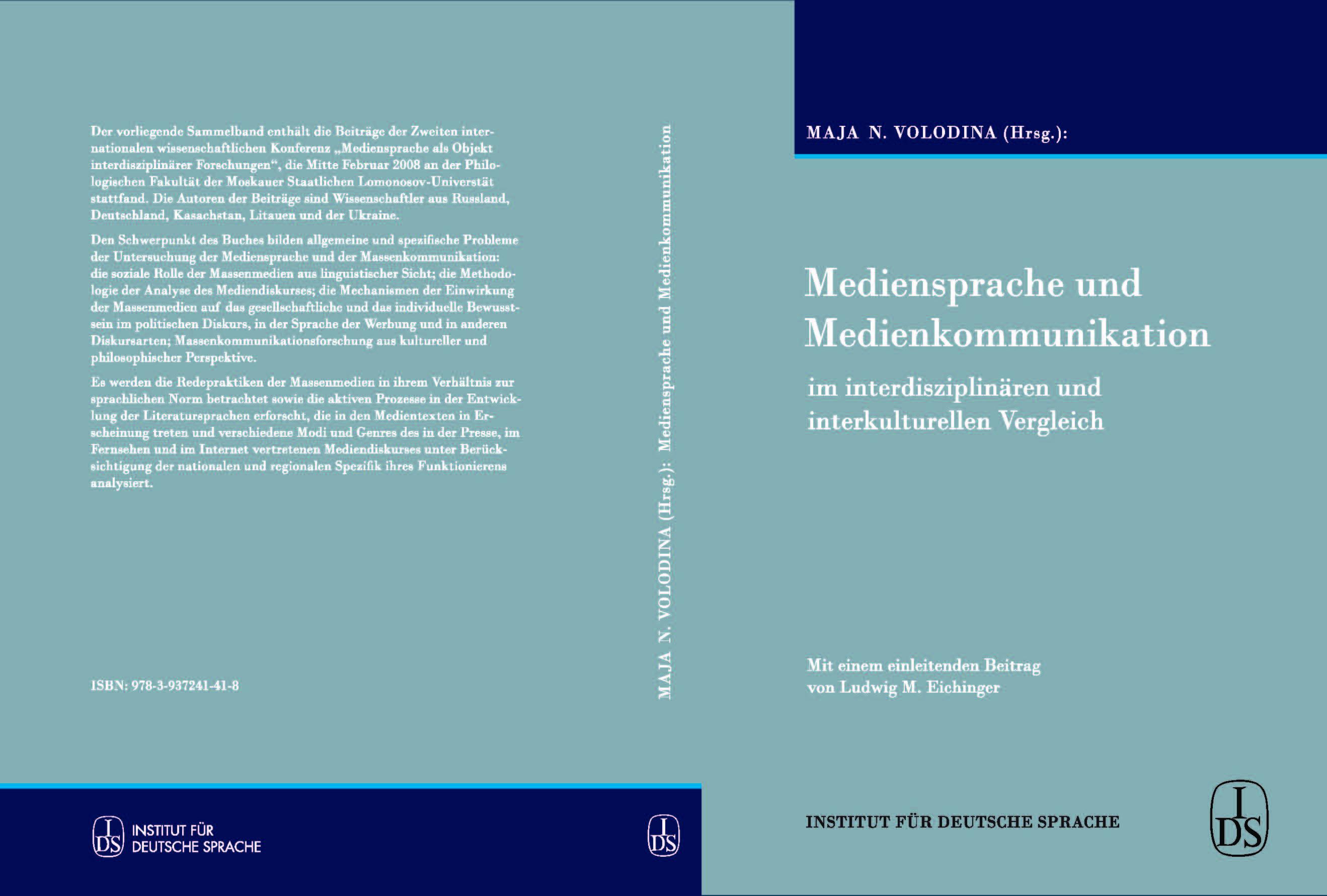 Mediensprache und Medienkommunikation im interdisziplinären und interkulturellen Vergleich